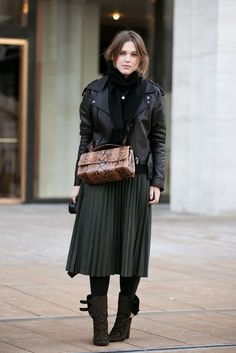 50 Street-Style Snaps From NYFW #refinery29  http://www.refinery29.com/43180#slide17  afterDRK's Sabrina Meijer in a pretty, pleated skirt.