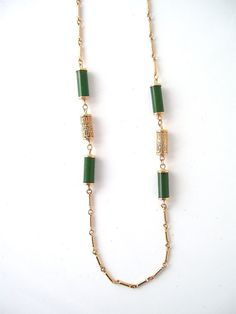 vintage gold link chain jade beads green by RecycleBuyVintage, $15.00