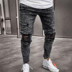 Smart Pants For Men Mens Skinny Stretch Denim Trousers Distressed Ripped Freyed Slim Fit Jeans Pants Black Mens Sweatpants Price: Cargo Jeans, Jeans Denim, Ripped Jeans, Skinny Jeans, Jeans Pants, Denim Leggings, Biker Jeans, Black Jeans, Fashion Pants