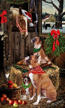 Boxer - Christmas Friends Christmas Cards -  by Margaret Sweeney