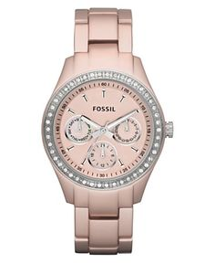 Fossil Watch, Women's Stella Pink Aluminum Bracelet ES2975. $135