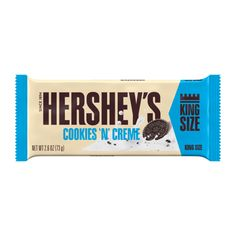 Hershey's, Cookies 'n' Crme King Size Candy Bar, Oz, Size: fl oz Hershey Chocolate, Chocolate Cookies, Hershey Cookies, Hershey Candy, Hershey's Cookies N Cream, Kosher Candy, Individually Wrapped Candy, Office Break Room, Coconut Cookies