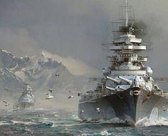 Battleship Bismarck and Heavy Crusier Prinz Eugene