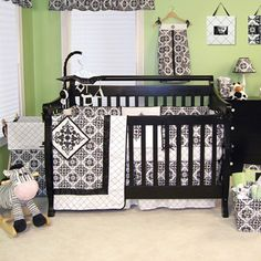 Baby will be settling down for a deep slumber with the adorable Versailles 3pc Baby Crib Bedding Set. Striking colors in a trend-setting style are sure to please you and your little one. Set includes a crib blanket, bed skirt and fitted crib sheet. All the essentials needed for your bundle of joy!