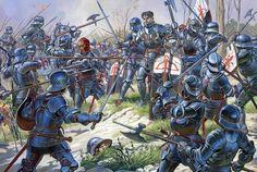 Italian knights at the Battle of Aljubarrota 14 August 1385.