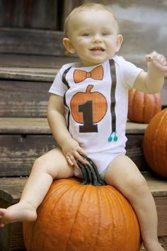 Fall Pumpkin Theme 1st Birthday Bow Tie and by OnceUponANap, $20.00