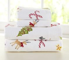 Pottery barn Christmas sheets - I love putting Christmas sheets on my kids beds!