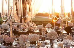 Table Decoration, white flowers and Candelabra