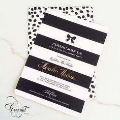 Stripes and Spots Double Sided Invitation // Kate Spade Shower // Gold, Black, White // Invitations & Design by Coconut Press Boutique Design, A Boutique, Brand Identity, Branding, Invitation Design, Invitations, Cool Packaging, Personalized Stationery, Bridal Showers