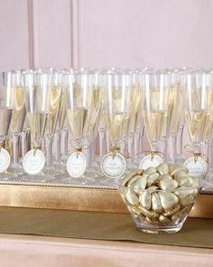 Champagne Escort Cards via Martha Stewart Weddings Wedding Seating, Wedding Table, Wedding Favors, Wedding Decorations, Quinceanera Decorations, Wedding Receptions, Gold Wedding, Diy Wedding, Dream Wedding