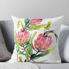 Pink Protea and Bird Watercolor Painting Big Pink Blossoms Throw Pillow Watercolor Bird, Watercolor Paintings, Watercolours, Hand Painted Dress, Pink Blossom, Canvas Prints, Art Prints, Fabric Painting, Decorative Throw Pillows