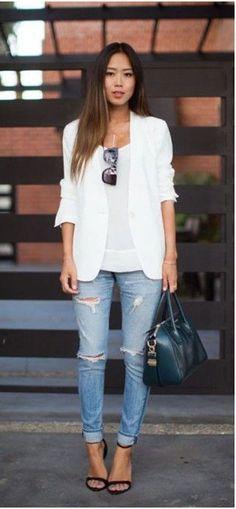 White blazer and denim