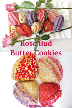 Rose Bud Butter Cookies- These flaky pastry cookies are enclosed in a crunchy sugar coating, then folded into piles of buttery goodness. Bake a rose for your Valentine! Cut Out Cookies, Yummy Cookies, Delicious Cookie Recipes, Dessert Recipes, Desserts, Russian Cookies, Chinese New Year Cookies, Flaky Pastry, Valentines Day Cookies