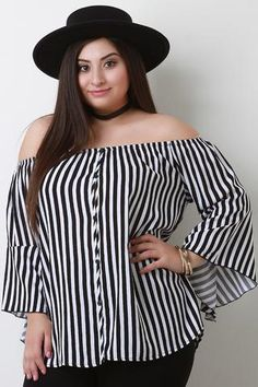 8ce31cb403e0d Stripe Off-The-Shoulder Bell Sleeves Top  plussize  plussizedress   womensfashion