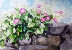 나팔꽃과 돌의 조합이네요.길 가다보면 이런 나팔꽃덩쿨 자주 보는데이렇게 그려놓고 보니 아주 근사해요. ... Watercolor, Plants, Painting, Watercolor Painting, Flowers, Art Production, Pen And Wash, Painting Art, Watercolour