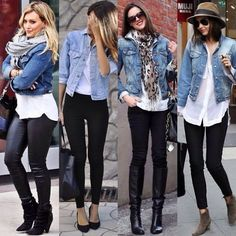 Chaqueta de jean, camisa blanca y pantalones negros. 44 Stunning Ripped Jeans Ideas To Look Rugged All you will need is a little water and the included bamboo brush. Purple Rain showed the nation an entirely […] Jean jacket, black bottoms and white shir Jean Jacket Styles, Jean Jacket Outfits, Blue Jean Jacket, Mode Outfits, Casual Outfits, Fashion Outfits, Womens Fashion, Jeans Fashion, Casual Jeans