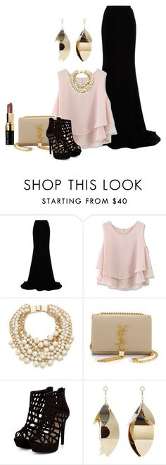 """""""Untitled #2818"""" by empathetic ❤ liked on Polyvore featuring Naeem Khan, Chicwish, Kate Spade, Yves Saint Laurent, Proenza Schouler and Bobbi Brown Cosmetics"""