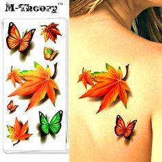 M-Theory Temporary 3D Tattoos Makeup Body Arts Maple Clover Flash Tatoos Stickers 19*9cm Tatto Bikini Swimsuit Makeup Tools #Affiliate