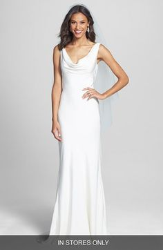 BLISS Monique Lhuillier Draped Neck Silk Crepe Wedding Dress (In Stores Only) available at #Nordstrom
