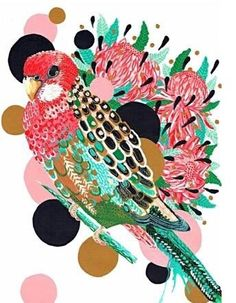 This colourful Rosella doesn't mind you staring, she knows you can't help it. Her colourful plumage draws you in with texture and intricate detail, balanced by a trio of waratah and smooth bright floating bubbles of gold, black and pink. Australian Gifts, Thick Cardboard, Draw Your, Bird Art, A3, Color Pop, Card Stock, Suitcase, Bubbles