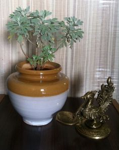 Ceramic pot and antique peacock diya