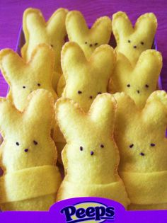 Felt Peeps Bunnies.  Need ◾felt (I used yellow and green, but pink, blue, or white would work) ◾embroidery floss to match the felt ◾brown embroidery floss ◾embroidery needle ◾poly-fill stuffing  French knots for faces and blanket stitch around edges