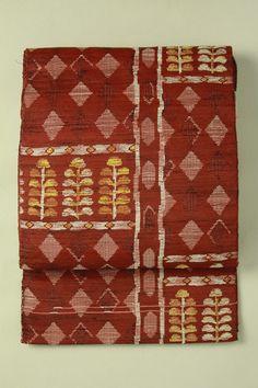 Nagoya obi / 杢茶色地 幾何学柄 六通八寸名古屋帯   #Kimono #Japan  http://www.rakuten.co.jp/aiyama/