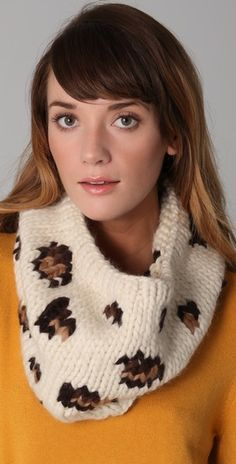 Animal print chunky knit cowl? Yes Please! I need to learn to knit or figure out how to crochet it.