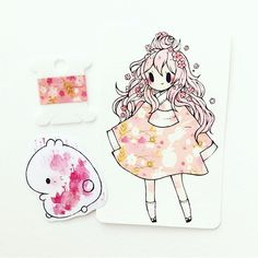 a pink #washitape commission package for @_kityin in singapore being sent out today ^o^