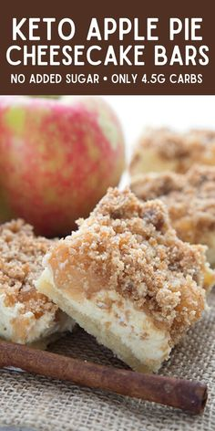 Apple pie meets rich cheesecake in these delicious Keto Apple Pie Cheesecake Bars. Creamy filling with apples and cinnamon and a delicious crumb topping. Mug Recipes, Sugar Free Recipes, Sweet Recipes, Baking Recipes, Keto Recipes, Keto Dessert Easy, Healthy Dessert Recipes, Apple Pie Cheesecake, Keto Chocolate Recipe