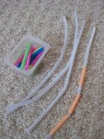 Fine motor activity - thread straw pieces onto pipe cleaners