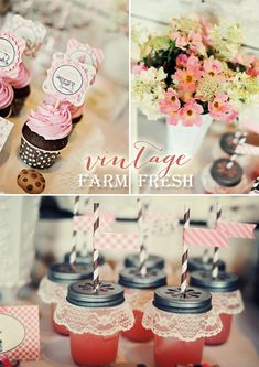 Vintage meets FARM FRESH! Adorable party details AND it was done on a budget! LOVE IT!
