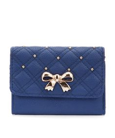 Blue (Blue) Teens Blue Stud Quilt Bow Purse   268833140   New Look