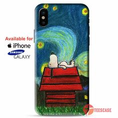 Starry Night Snoopy by KnoxCat iPhone X Cases, iPhone Cases, Samsung Galaxy Cases, teescase 236