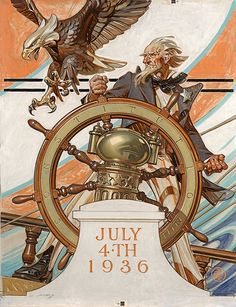 The Saturday Evening Post, Uncle Sam at the Helm, July 4, 1936, Oil on canvas. http://hagginmuseum.org/LeyendeckerGallery