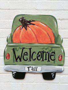 Vintage Truck Pumpkin Fall Autumn Wood Door Hanger Personalized by Earthlizard … - Wood Projects Autumn Painting, Autumn Art, Fall Paintings, Pumpkin Canvas Painting, Beach Canvas Paintings, Canvas Painting Designs, Moon Painting, Painting Patterns, Vintage Clipart