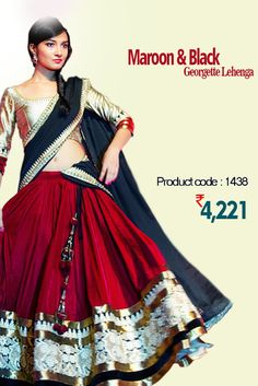 Maroon & Black #Georgette #Lehenga Show your feminine charm, and #beauty wearing this #elegant maroon and black dual colored Lehenga. Exquisitely embroidered making it appropriate for #wedding. #womanwear #shopping #onlineshopping #trending #embroidery #weddingwear  #latestcollection #newdesigns #designerlehenga #onlinelehenga #onlineweddingwear #embellishment #weddingattire