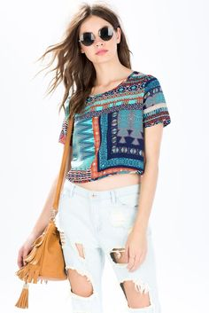 Abstract Cropped Tee