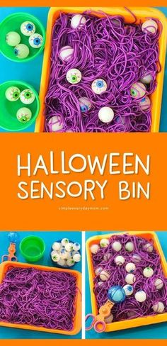 Halloween Sensory Bin For Kids - Let kids have squishy, slimy fun with this colored spaghetti and eyeball sensory box. It's perfect for toddlers, preschool kids and kindergarten kids plus you can make it educational too! Halloween Crafts For Toddlers, Toddler Crafts, Halloween Kids, Preschool Crafts, Toddler Activities, Preschool Kindergarten, Sensory Activities, Halloween Activities For Preschoolers, Kindergarten Halloween Party
