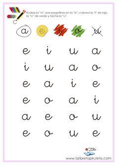 Fichas para imprimir, educación infantil, lectoescritura, vocales