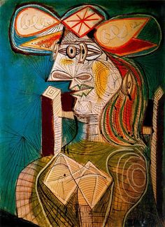 History of Art: Pablo Picasso 'A diametrically opposed method is at work in a study of a seated woman done on 27 April 1938 in India ink, gouache and crayon (Seated Woman). It is a study in both the autonomy and the functionality of the line. The woman's head is done in the familiar combination of frontal and profile; and, in the process, the line as an instrument for conveying form has taken on an independent life of its own. .. http://www.all-art.org/art_20th_century/picasso12.html