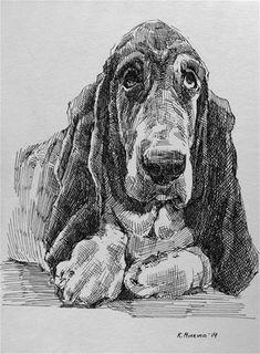 Cool Art Drawings, Ink Pen Drawings, Animal Drawings, Dog Illustration, Ink Illustrations, Dog Anatomy, Dog Artwork, Collages, Pen Art