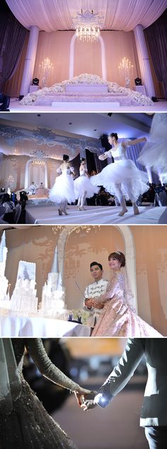 Marriage ceremony with ballerinas and fairytale cake with a prince and princess groom and bride // Malaysian TV personalities Amar Baharin and Amyra Rosli tied the knot in a lavish nikah (solemnisation ceremony) in Kuala Lumpur, Malaysia. The bride wore a jaw-dropping bespoke blush ball gown made of French lace and Swarovski crystals, while the groom looked every part the knight in shining armour in his Prince Charming-inspired suit by Rizman Ruzaini Creations. Here, we take you inside this…