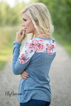 The Little Things Floral Top in Blue