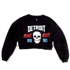 Detroit Bad Boys Women's Cropped Crewneck   Black