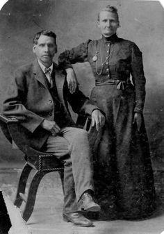 Facebook Native American Indian - Old Photos  John D. Brown Jr. (Huron/Wyandot) with his wife, Julia Allman Hofer-Brown (Swiss) near Seneca, Missouri - 1896