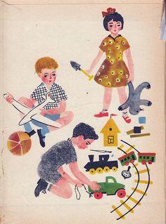 """kid_book_museum: Люшнин Г. Игрушки и машины. 1963. худ. Меженинов М. из-во """"Детский Мир"""" книжка-раскладушка"""