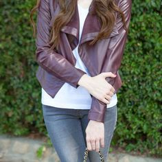 Burgundy leather jackets are all the rage this fall. I scored this one for under $100!!  Get the ready-to-shop product details to your inbox with LIKEtoKNOW.it  @liketoknow.it www.liketk.it/1HATz #liketkit : @kloseupphotography by brookedujour