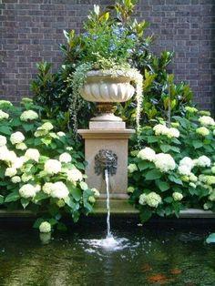 Hydrangea Garden and Fountain