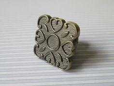 Embossed Motif Square Knobs Pulls Antique Bronze Furniture Handles by LynnsGraceland, $5.50